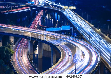 Night highway - stock photo