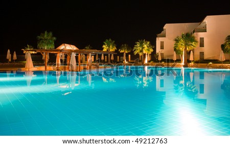 Night Hotel view from lighten pool Egypt Sharm El Sheikh - stock photo