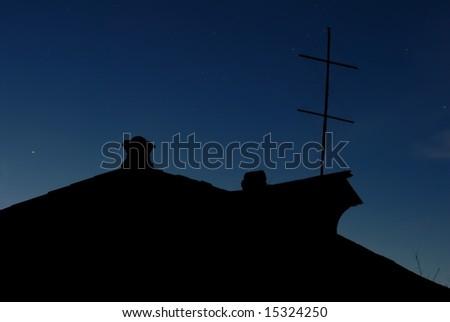 Night house silhouette - stock photo
