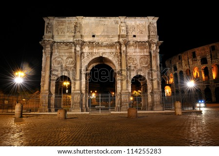 Night image Arch of Constantine in Rome in Italy - stock photo