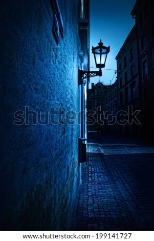 night in riga - stock photo