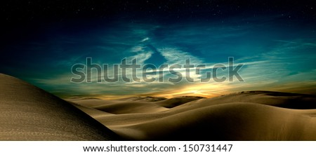 Night in sand desert - stock photo