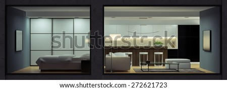 Night interior of the modern  loft  view from outside 3D rendering  - stock photo
