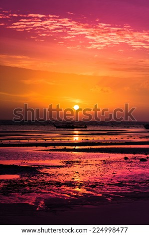Night is Coming Burning Skies  - stock photo