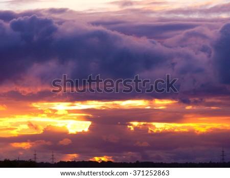 Night is Coming Evening Scene  - stock photo