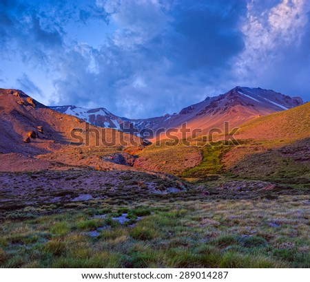 Night is coming in Domuyo Provincial Park, Neuquen, Argentina. - stock photo