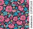 Night Kimono Blossom Seamless Pattern Background - stock photo