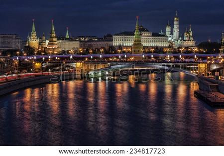 Night Kremlin, Moscow, Russia - stock photo