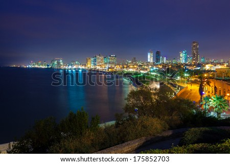 Night Landscape of TLV  from the sea coast - stock photo