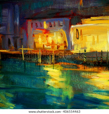 night landscape to Venice, painting by oil on a canvas - stock photo