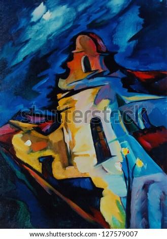night landscape with catholic monastery, water colour painting, illustration - stock photo