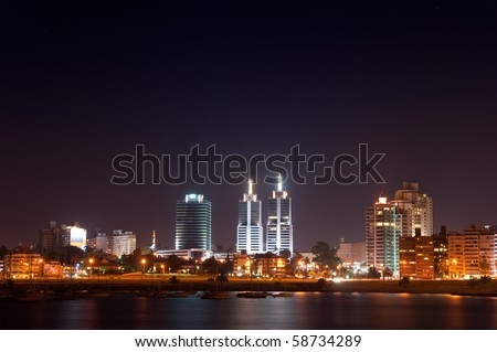 Night life of Montevideo town. Summer, Uruguay. - stock photo