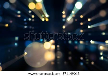 night lights city street  - stock photo