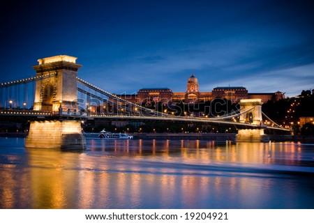night lights in budapest. 20. - stock photo