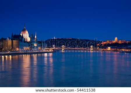 Night lights in Budapest-Hungary - stock photo