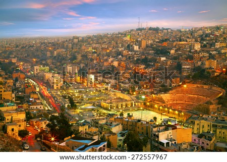 Night lights of Amman - capital of Jordan - stock photo