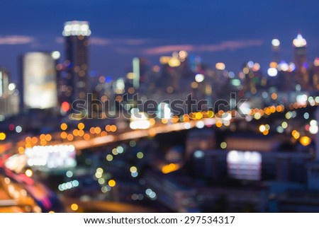 Night lights of city road, abstract blur bokeh background - stock photo