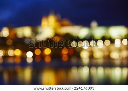 Night lights of the city - Skyline of Prague, Czech Republic - stock photo