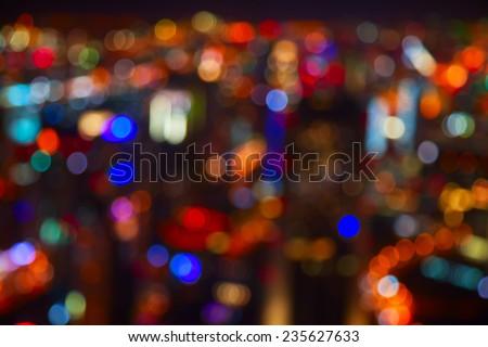 Night lights of the Dubai city - stock photo