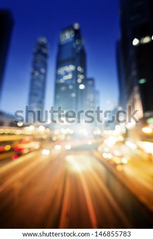 Night lights of the Hong Kong - stock photo