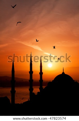 Night minarets of Istanbul - stock photo