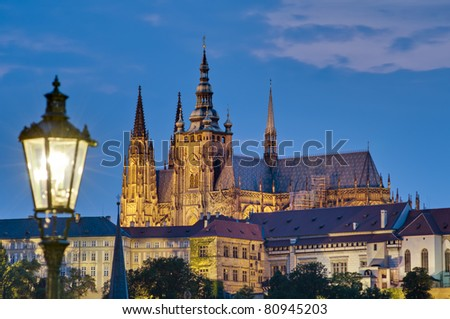 Night on Castle of Prague as seen from Charles Bridge - stock photo