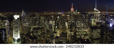 Night over Manhattan, New York City - stock photo