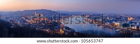 Night panorama Budapest, Hungary - stock photo