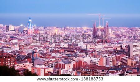 night panorama of Barcelona with Sagrada Familia.  Catalonia, Spain - stock photo