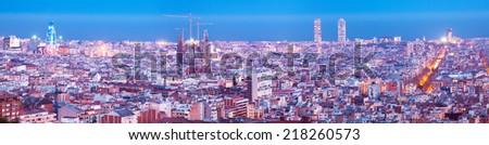 night panorama of city. Barcelona, Spain - stock photo
