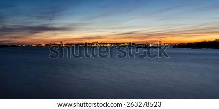 Night panorama of Karlskrona city sea coast - stock photo