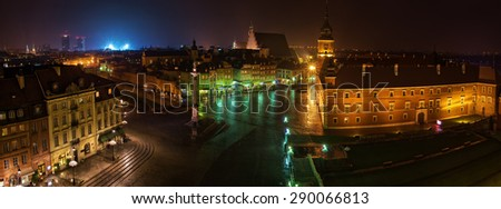 Night Panorama of Royal Castle and Old Town in Warsaw, Poland - stock photo