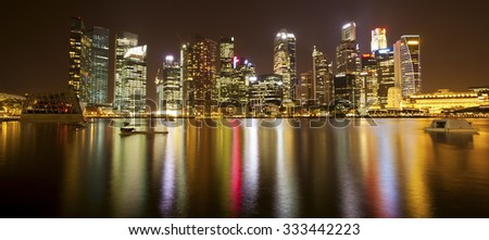 Night panorama of skyscrapers Marina Bay in Singapore.  - stock photo