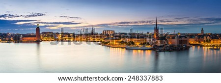 Night panoramic view. Gamla Stan, the old part of Stockholm, Sweden - stock photo