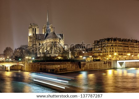 night panoramic view of Cite island with cathedral Notre Dame de Paris - stock photo