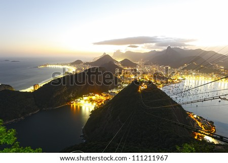 Night panoramic view of Rio de Janeiro - stock photo