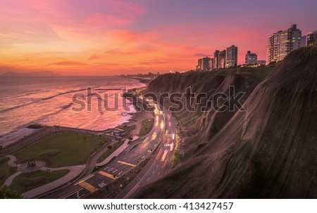 Night panoramic view of the Costa Verde high way at the sunset, in Lima, Peru. - stock photo