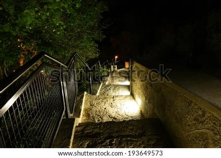 night Park stairs - stock photo
