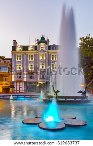Night photos of Fountain in front of city hall in the center of Plovdiv, Bulgaria - stock photo