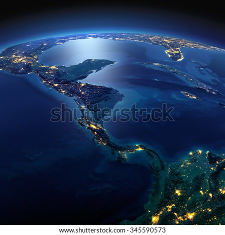 Night planet Earth with precise detailed relief and city lights illuminated by moonlight. The countries of Central America. Elements of this image furnished by NASA - stock photo