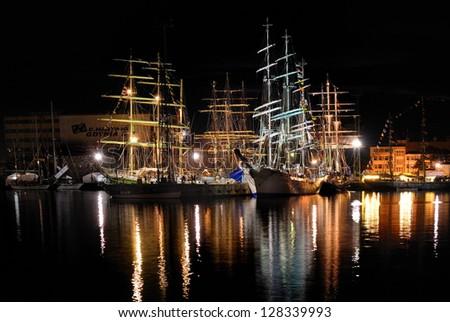 Night port - stock photo