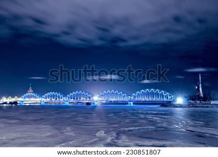 night railway Bridge, Riga, Latvia - stock photo