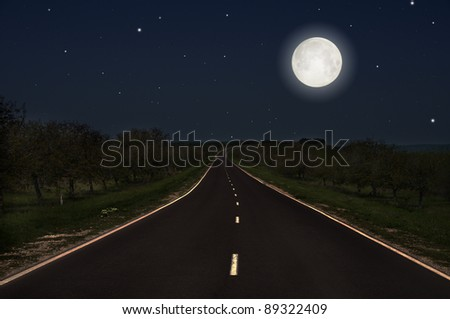 night road and full moon - stock photo