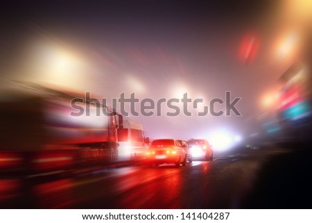 Night road car in the city - stock photo