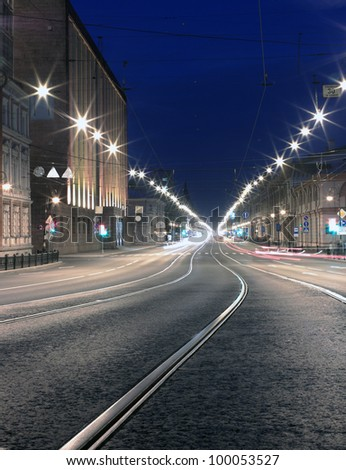 Night road in the city. St. Pererburg Russia - stock photo