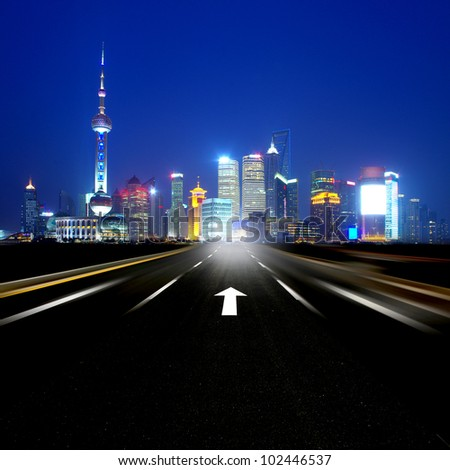 Night road leading to the Shanghai - stock photo