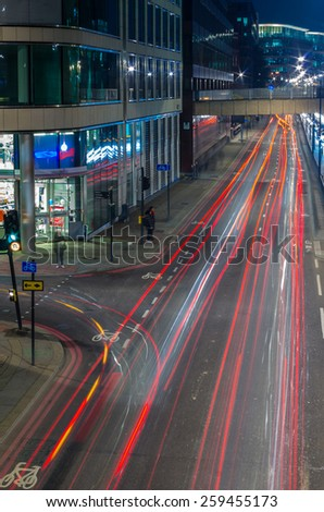 Night rtaffic in London,Uk - stock photo