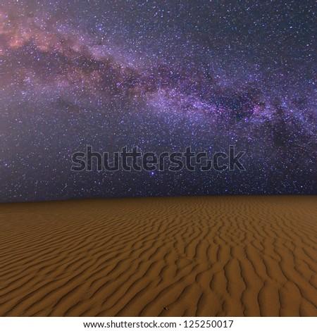 night sandy desert - stock photo