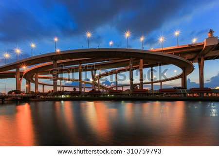Night scene at Bhumibol Bridge , Bangkok, Thailand - stock photo