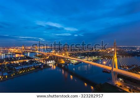 Night scene at Bhumibol Bridge in top view , Bangkok, Thailand - stock photo